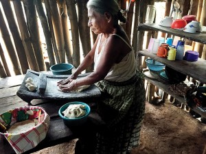 An elderly woman presses ground corn meal for tortillas in her one-room hut with dirt floors and walls of bamboo poles, typical for the village. Photo by Diane Willis