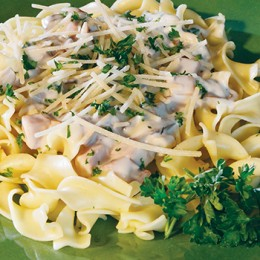 Ham and Mushrooms in Tarragon Cream Sauce