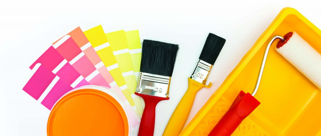 Paintbrushes and swatches