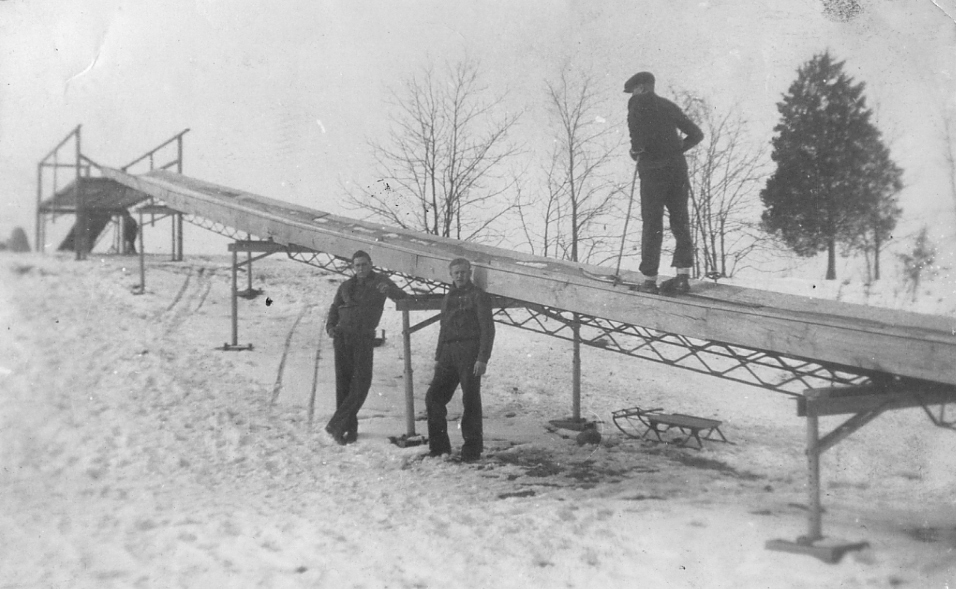Men building toboggan run at Pokagon State Park in the late 1930s or early 1940s
