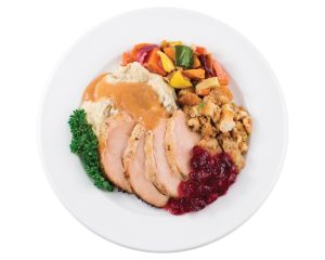 Thanksgiving food on a plate