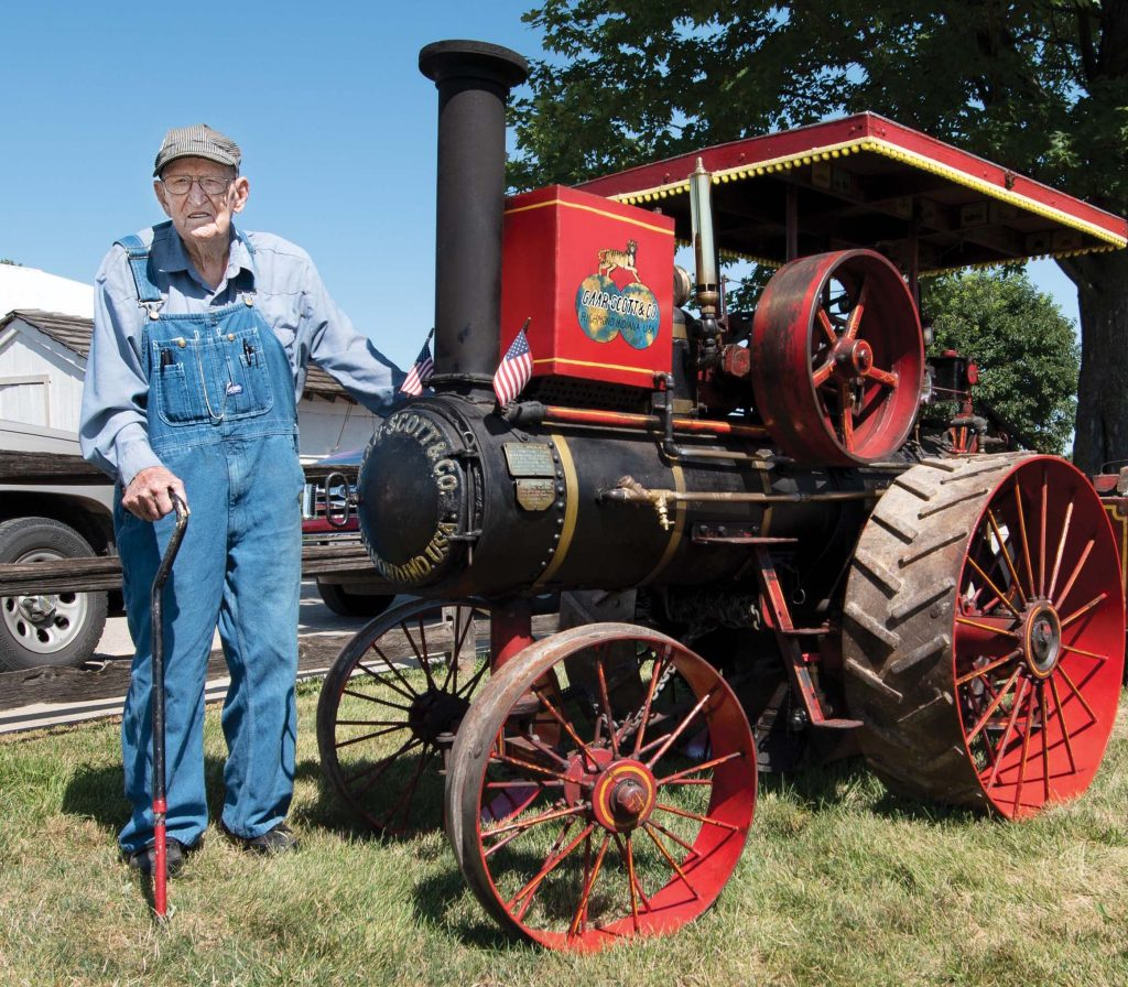 Harold Stark with antique tractor