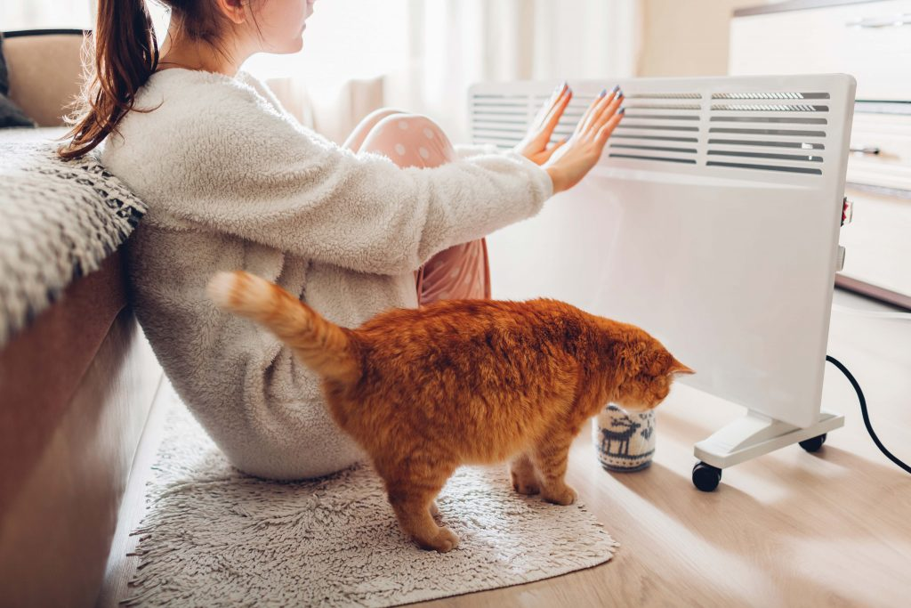 Woman and cat by space heater