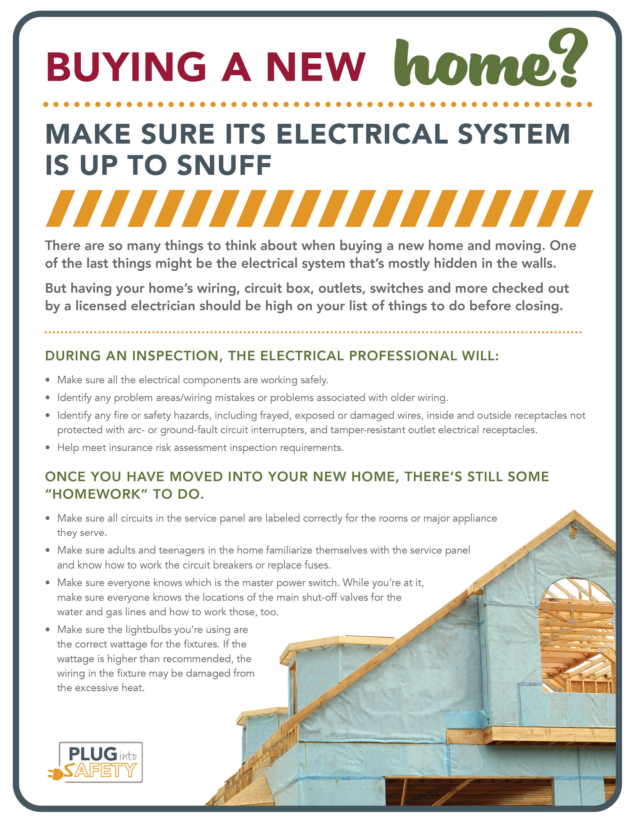 Infographic on electrical safety when buying a new home
