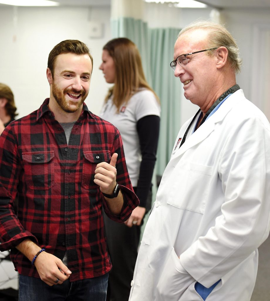 James Hinchcliffe with his doctor