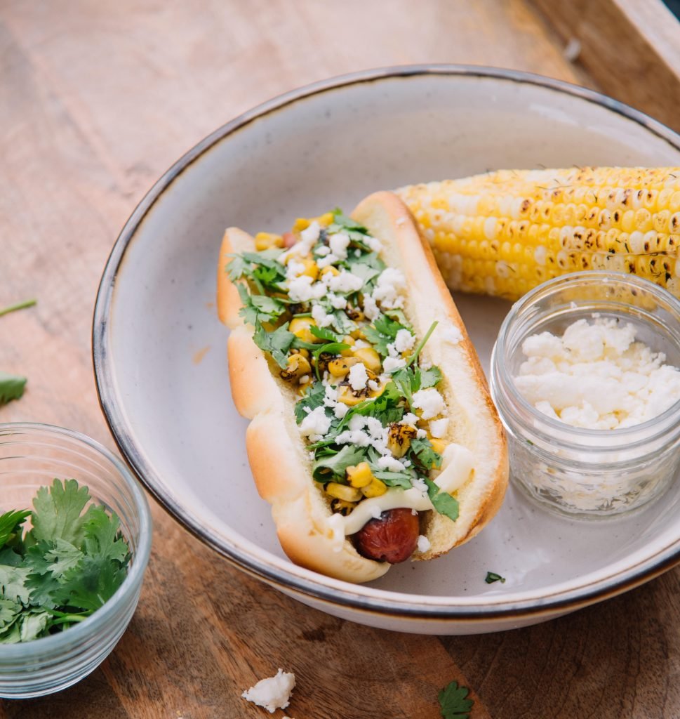 Photo of hot dog and corn