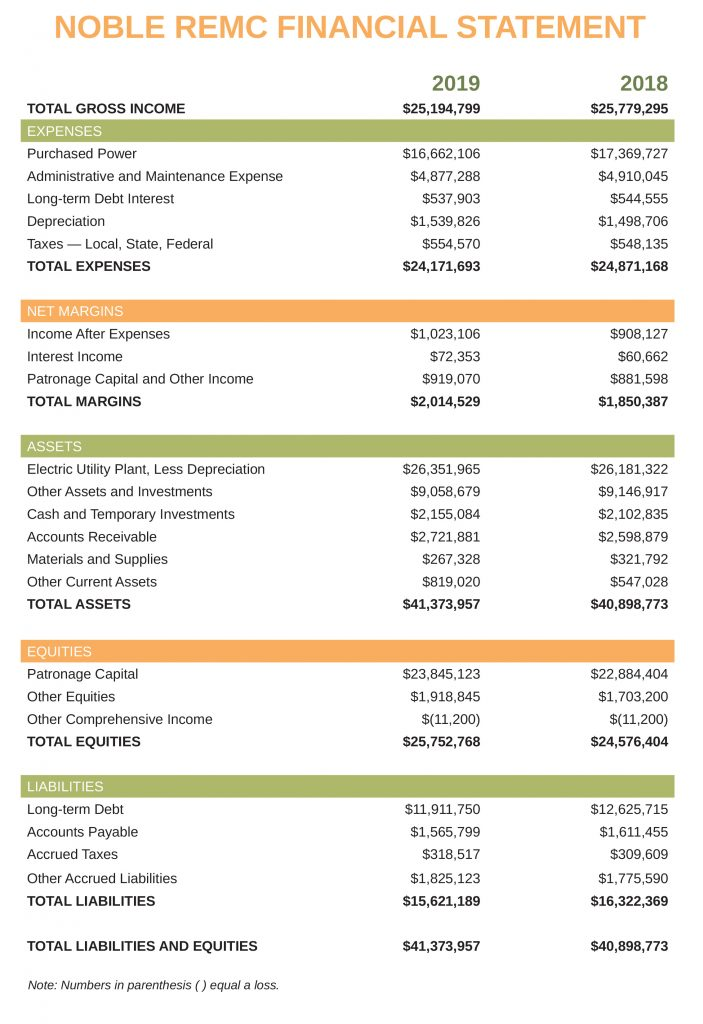 Noble REMC financial statement