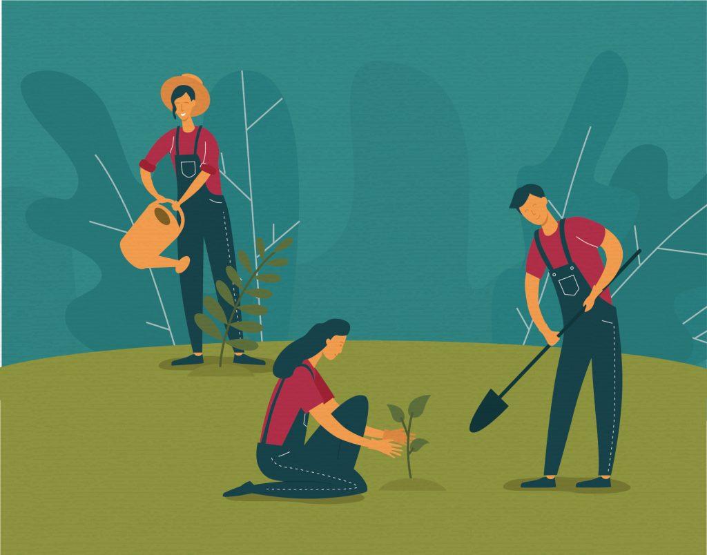 Illustration of people planting trees