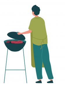 Illustration of person grilling