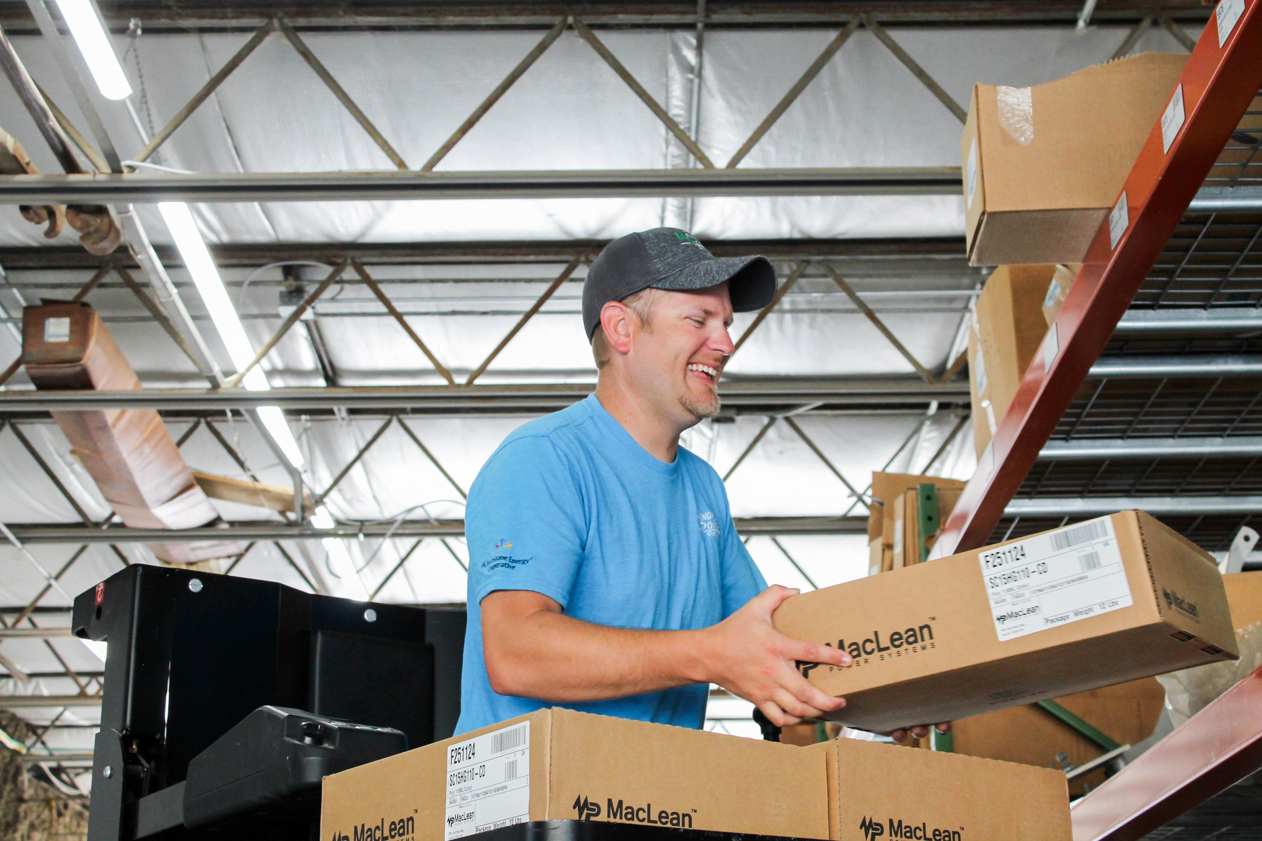 Tyler Schoffer in warehouse