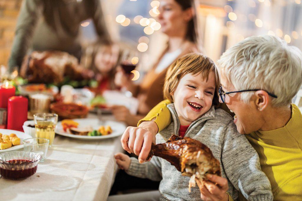 Grandma and grandson at Thanksgiving