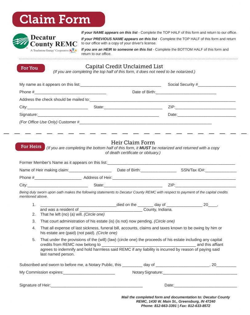 Capital credit claim form