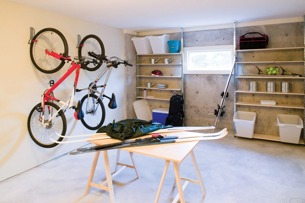 Garage with storage shelves