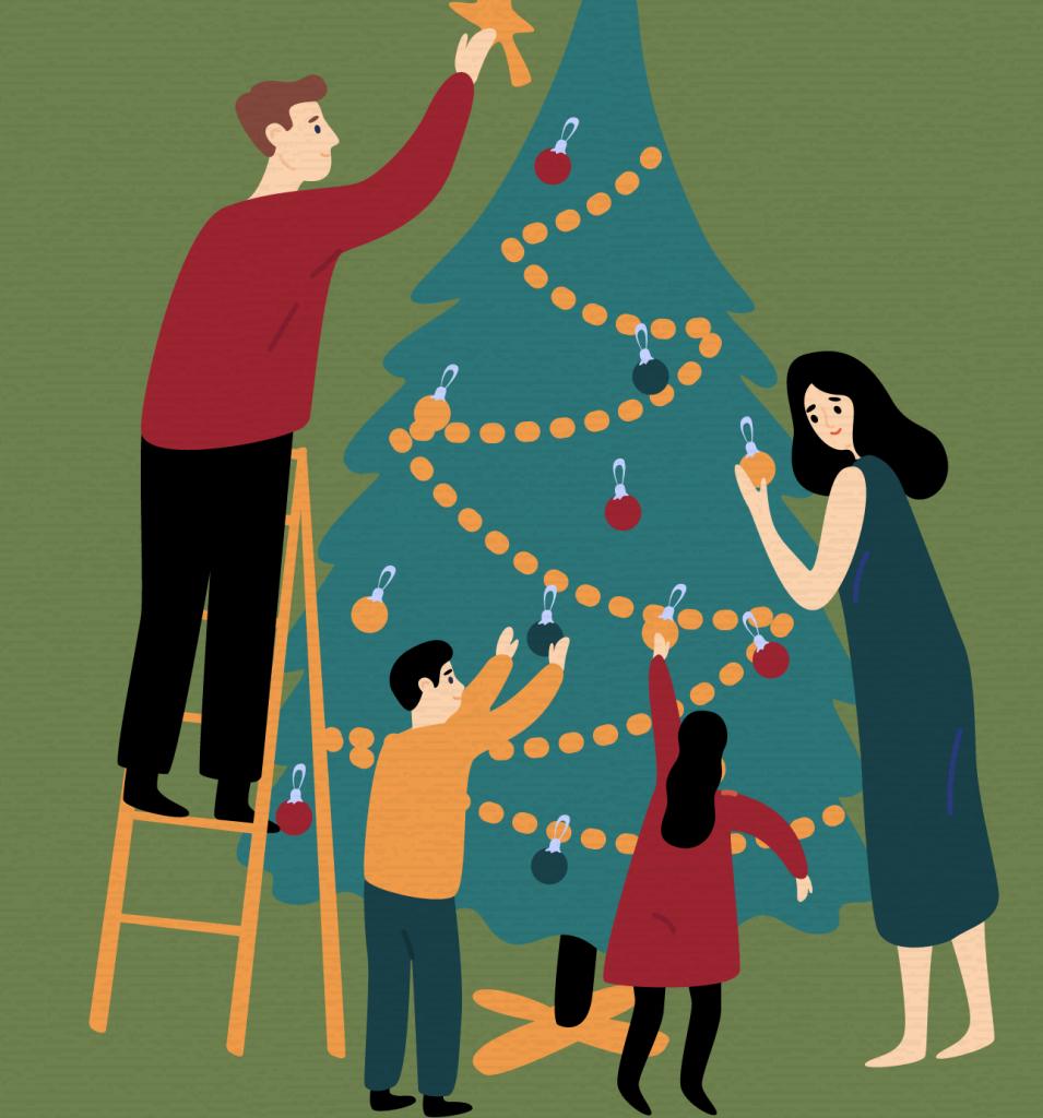 Christmas decorating illustration