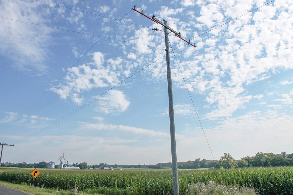 Photo of a power pole in rural setting