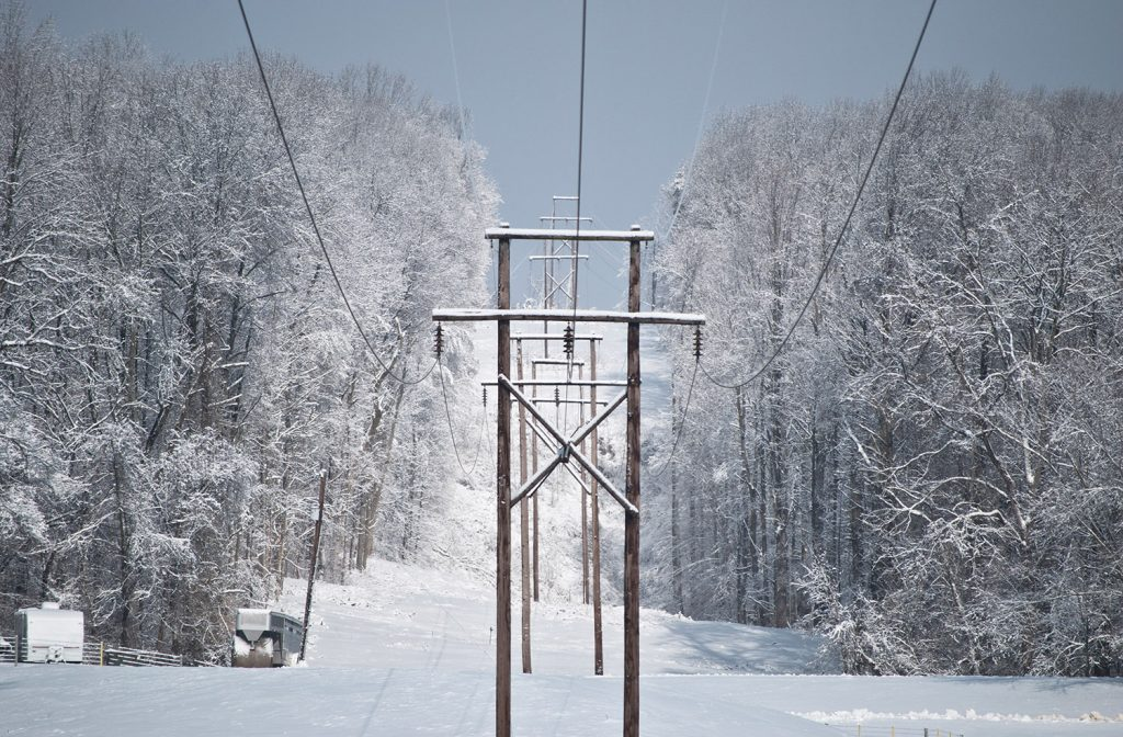 View of transmission lines in snow