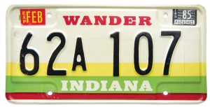 WANDER INDIANA license plate
