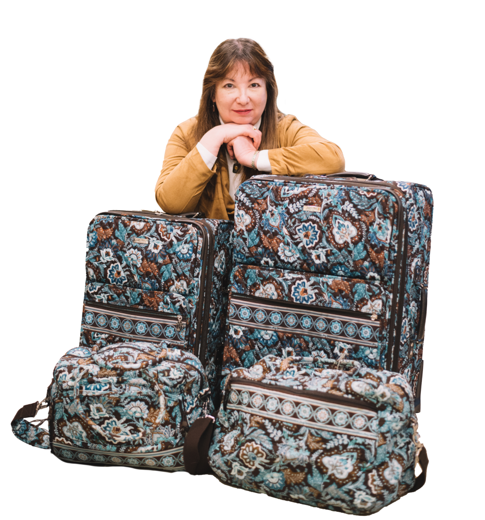 Emily with luggage