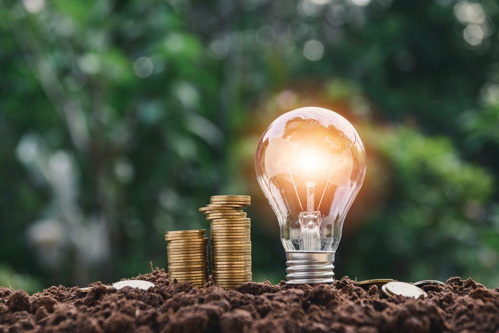 Lightbulb with pennies