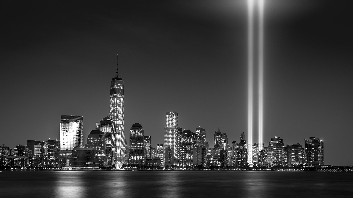 NYC skyline with Twin Towers lit up
