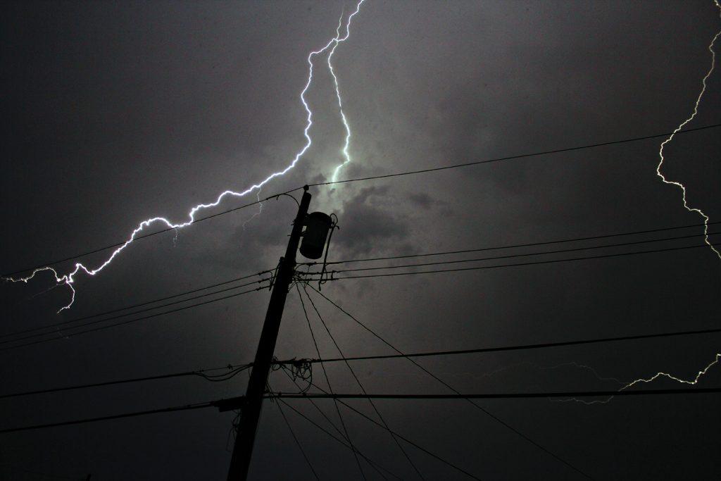 Transformer being hit by lightning